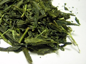 Vibrant Japanese green tea leaves.